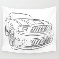 mustang Wall Tapestries featuring Mustang by cchelle135