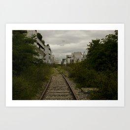 Une courbe de la voie ferrée de la Petite Ceinture // A Bend in the Track along the Petite Ceinture Art Print