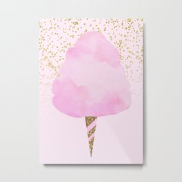 Pink & Gold Glitter Cotton Candy Metal Print
