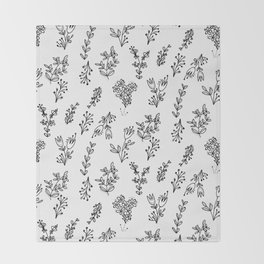 Floral White Pattern Throw Blanket
