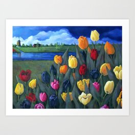 Dutch Tulips, Bright Colorful Flower Painting Art Print
