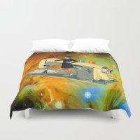 spaceship Duvet Covers featuring Barbara's Spaceship by Eugenia Loli