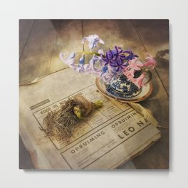 Still Life- Hyacinths and Old Newspaper Metal Print