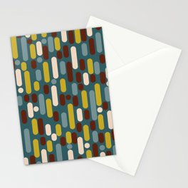Morningside Heights Mid Century Modern Pattern in Mustard, Cream, Maroon, and Steel Blue Stationery Cards