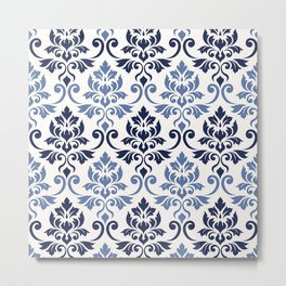 Feuille Damask Pattern Blues on Cream Metal Print