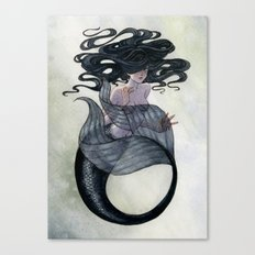 Black Mermaid Canvas Print