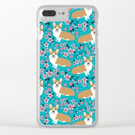 Welsh Corgi cherry blossoms dog portrait custom dog art spring floral dog pattern pet friendly Clear iPhone Case