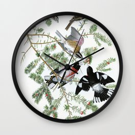 Rose-breasted Grosbeak - John James Audubon Wall Clock
