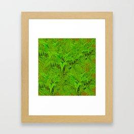 ABSTRACTED  GREEN  TROPICAL FERNS GARDEN ART Framed Art Print