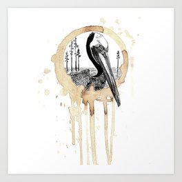 Coffee Stained Brown Pelican-Louisiana Series Art Print