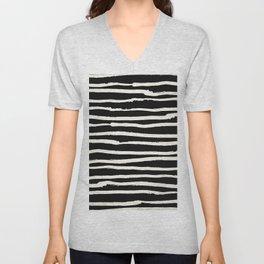 Hand Drawn Stripes on Black Unisex V-Neck