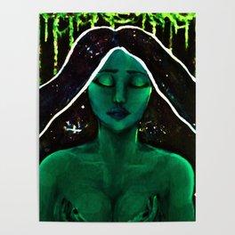 Green Goddess (Acrylic Mythic Portrait) Poster