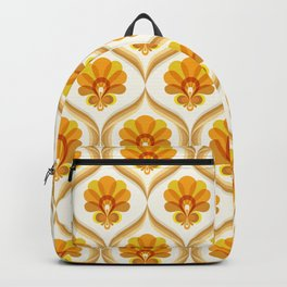Ivory, Orange, Yellow and Brown Floral Retro Vintage Pattern Backpack