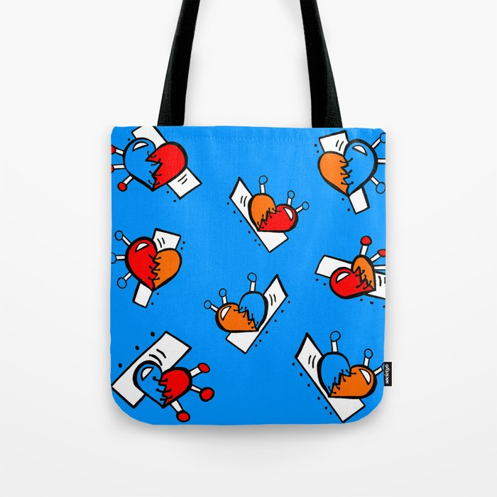 Hearts With Sches Blue Red Orange Bright Tote Bag