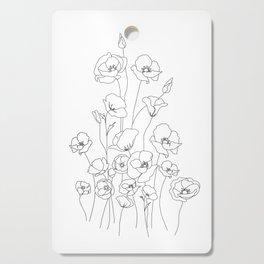 Poppy Flowers Line Art Cutting Board