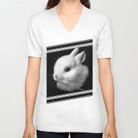 bunny V-neck T-shirts featuring Bunny by Creadoorm
