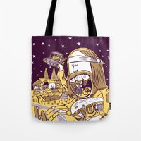 hippy Tote Bags featuring Giant Hippy by Josh Quick