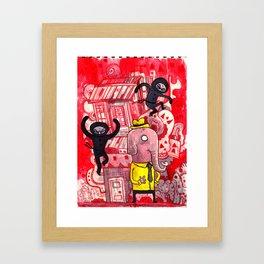 Mr. Elephant & Ninjas Framed Art Print