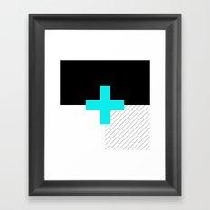 Neon Cross (Blue) // Neon Plus (Blue) Framed Art Print