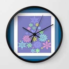 Colorful Snowflake Christmas Tree  Wall Clock