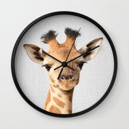 Baby Giraffe - Colorful Wall Clock