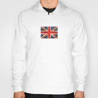 british flag Hoodies featuring Vintage Aged and Scratched British Flag by Jeff Bartels