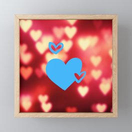 Blue Hearts On Red Love Background Framed Mini Art Print