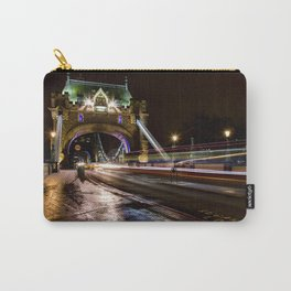 Night shot of traffic light trails on Tower Bridge London Carry-All Pouch