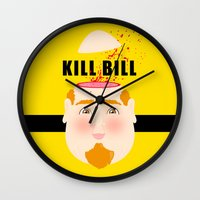 kill bill Wall Clocks featuring Kill Bill by Frikaditas T-Shirts