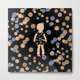 Kid in Bubble Dots Metal Print