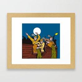 Boston Tea Party Raiders Retro Framed Art Print