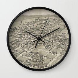 Vintage Pictorial Map of Monticello FL (1885) Wall Clock