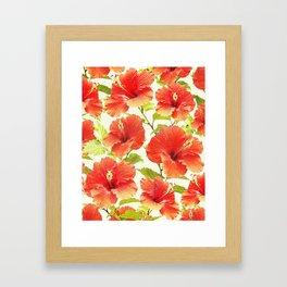 FLORAL PATTERN - HIBISCUS - Framed Art Print