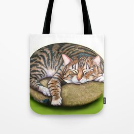 The Living Rocks : Painted cat sleeping on a rock Tote Bag