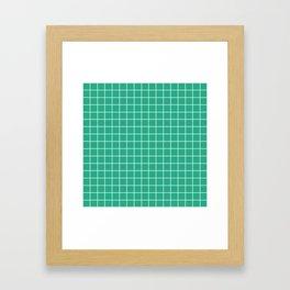 Jungle green - green color -  White Lines Grid Pattern Framed Art Print