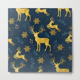 Golden Reindeer Metal Print