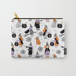 Witches halloween pattern cute cat cauldron broomsticks magic spells Carry-All Pouch