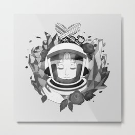 Pearl Space Race - BnW Metal Print