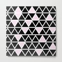 Abstract geometric triangle pattern- pink-black by simplicity_of_live