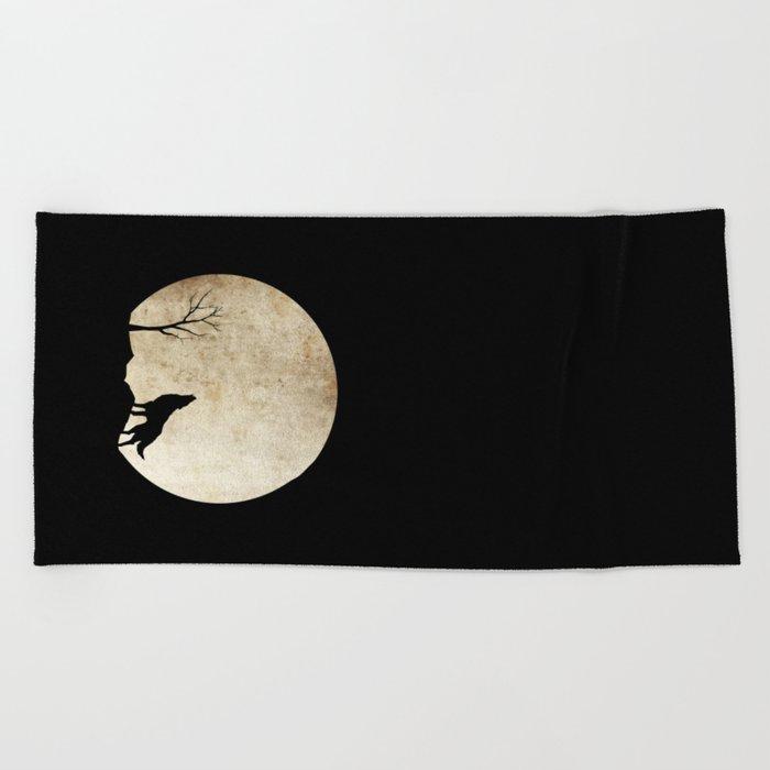 Wolf night Beach Towel