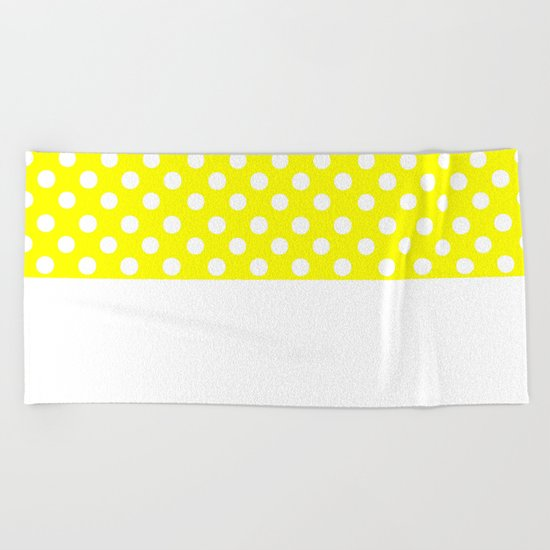 Polka Dots (White/Yellow) Beach Towel