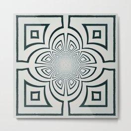 Grey And Black Geometric Design Metal Print