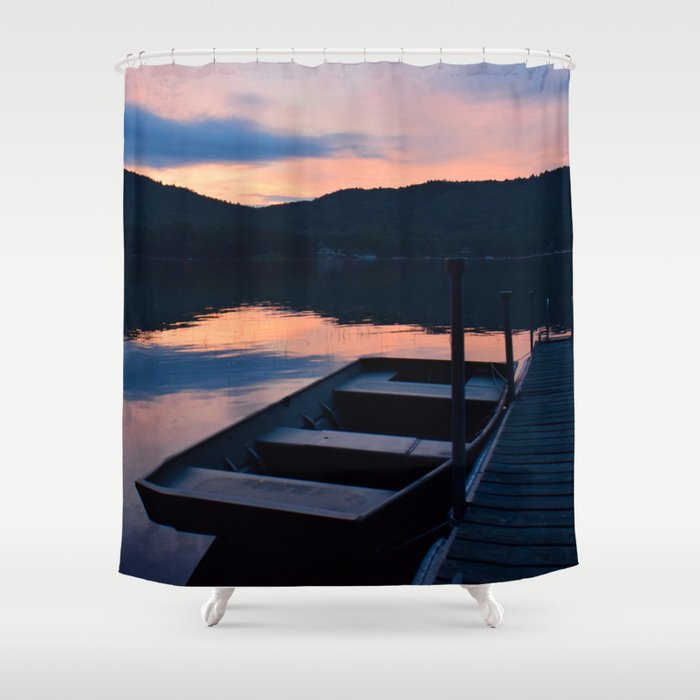 Pretty Adirondack Dawn Jon Boat And Old Dock Shower Curtain