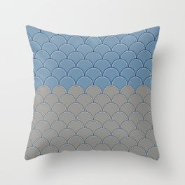Geometric Circle Shapes Beachy Fish Scale Pattern in Blue and Gray Throw Pillow