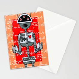 Nerdy Robot Print with math formulas in background Stationery Cards