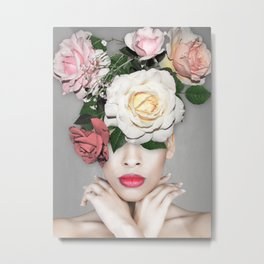 WOMAN WITH FLOWERS Floral collage Metal Print