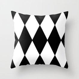 LARGE BLACK AND WHITE HARLEQUIN DIAMOND PATTERN Throw Pillow