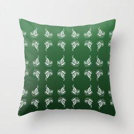Green Leaf Brooch Throw Pillow