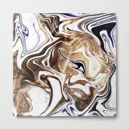 Liquid Bronze and Marble Metal Print