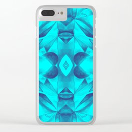 Turquoise Geometric Watercolor Clear iPhone Case
